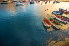Fishing boats on the sunrise Royalty Free Stock Images