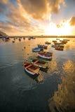Fishing boats on the sunrise Royalty Free Stock Photography