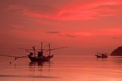 Fishing boats at sunset. Thailand Royalty Free Stock Photos