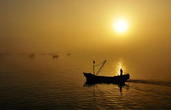 Fishing boats, sunset Royalty Free Stock Photography