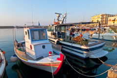 Fishing boats at sunset. Boat fishing on the dock. Chania. Crete Stock Photography
