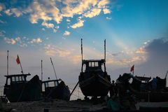 Fishing boats in sunset Stock Photography