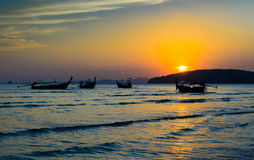 Fishing boats in sunset Royalty Free Stock Photo