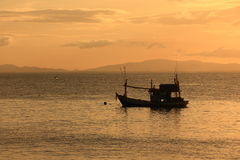 Fishing Boats at Sunset in the East of Thailand. Fishing Boats at Sunset in the East, Thailand royalty free stock photos