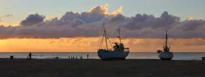 Fishing boats at sunset Royalty Free Stock Photography