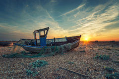 Fishing Boats at Sunset Stock Images
