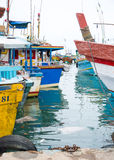 Fishing boats in Tangalle port Stock Images