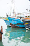 Fishing boats in Tangalle port Royalty Free Stock Images