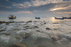 Fishing boats at Tanjung Piandang @ Ban Pecah Perak Malaysia Royalty Free Stock Photo