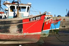 Fishing boats in Tenby, Wales royalty free stock images