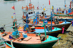 Fishing boats in Thailand. Fisherman and boat in sea thai.Fishing boats in Thailand Royalty Free Stock Image