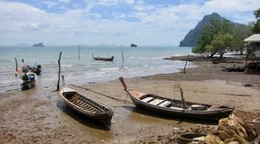 Fishing boats, Thailand. Fishing boats on the island of Koh Lanta in Thailand, 19.02.2017 Royalty Free Stock Photo