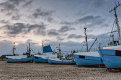 Fishing boats at Thorup beach on the Danish North Sea coast Stock Images