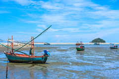 Fishing Boats. With Tidewater, South of Thailand Stock Photo