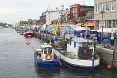 Fishing boats tied at the channel in Rostock, Germany. Stock Image