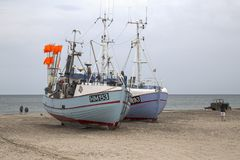 Fishing boats. Torup Strand, Jutland, Denmark. Stock Photography