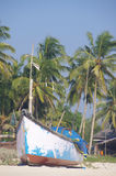 Fishing boats in tropical beach, Goa Stock Photos