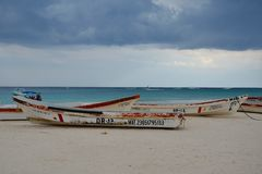 Fishing boats, Tulum beach Stock Photo