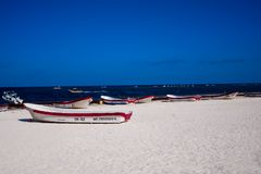 Fishing boats at Tulum beach royalty free stock photo