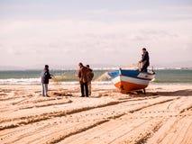 Fishing boats in Tunisia at Hammamet royalty free stock image
