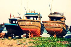 Fishing boats under repair. At Danang Beach, Vietnam Stock Photography