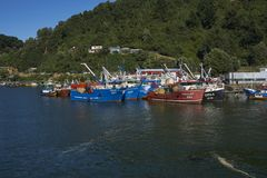 Fishing boats on the Valdivia River in Chile Stock Photo