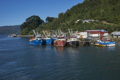 Fishing boats on the Valdivia River in Chile Stock Image