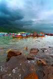 Fishing boats of Vietnam against mountains Royalty Free Stock Images