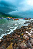 Fishing boats of Vietnam against mountains Stock Image