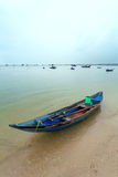 Fishing boats of Vietnam against mountains Royalty Free Stock Photography