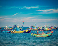 Fishing boats in Vietnam Stock Photo