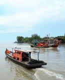 Fishing boats. View from jetty at Kampung Bagan Pasir, Tanjung Karang, Kuala Selangor Stock Image