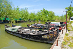 Fishing boats in Vilkovo, Ukraine. Royalty Free Stock Images