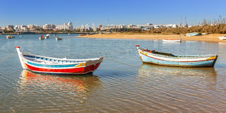 Fishing boats of the village of Ferragudo. Portugal. Royalty Free Stock Images