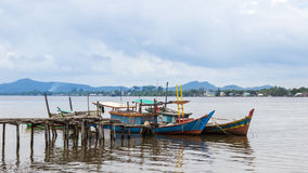 Fishing boats in village indonesia kalimantan borneo Stock Images