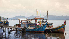 Fishing boats in village indonesia kalimantan borneo Royalty Free Stock Photography