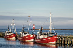 Fishing boats in Warnemuende Stock Images