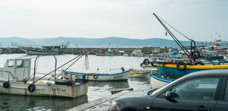 Fishing boats on the waterfront of Nessebar in Bulgaria Stock Photos