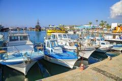 Fishing boats and yachts in harbor of Ayia Napa. Stock Image