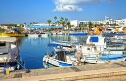 Fishing boats and yachts in harbor of Ayia Napa. Stock Photos
