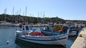 Fishing Boats and yachts in Sardinian Harbor Stock Photos