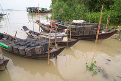 Fishing boats on Ywe River in Myanmar Stock Images
