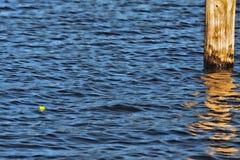 Fishing bobber floating on water stock photo