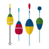 Fishing bobbers flat icons vector illustration Royalty Free Stock Photos