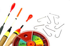 Fishing bobs with hooks and  sinkers Royalty Free Stock Image