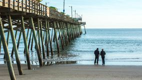 Fishing at the Bogue Inlet Pier stock photo