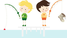 Fishing Boot. Illustration of two cute boy fishing Vector Illustration