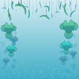Fishing border. Border made of fish, worms on hooks, and bubbles Royalty Free Stock Images