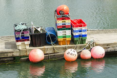 Fishing bouys, trays and paraphernalia Royalty Free Stock Photos