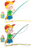 Fishing boy stock illustration